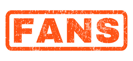 Fans text rubber seal stamp watermark. Caption inside rectangular banner with grunge design and scratched texture. Horizontal glyph orange ink emblem on a white background.