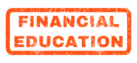 financial education: Financial Education text rubber seal stamp watermark. Tag inside rectangular banner with grunge design and dust texture. Horizontal glyph orange ink sticker on a white background.
