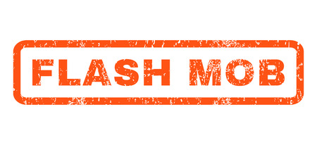 mob: Flash Mob text rubber seal stamp watermark. Tag inside rectangular banner with grunge design and scratched texture. Horizontal glyph orange ink emblem on a white background.