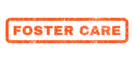 foster: Foster Care text rubber seal stamp watermark. Caption inside rectangular shape with grunge design and dirty texture. Horizontal glyph orange ink sticker on a white background. Stock Photo