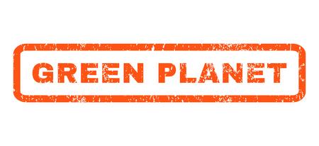 planeta verde: Green Planet caucho texto de la marca sello sello. En etiqueta bandera rectangular con diseño de grunge y textura impuro. Horizontal pegatina de tinta de color naranja glifo sobre un fondo blanco. Foto de archivo