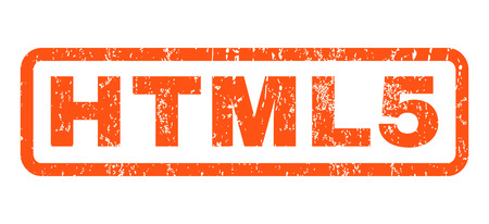 Html5 text rubber seal stamp watermark. Tag inside rectangular shape with grunge design and dust texture. Horizontal glyph orange ink sticker on a white background.