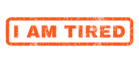 irked: I Am Tired text rubber seal stamp watermark. Caption inside rectangular banner with grunge design and unclean texture. Horizontal glyph orange ink emblem on a white background.
