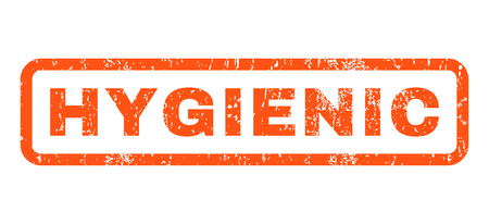 hygienic: Hygienic text rubber seal stamp watermark. Caption inside rectangular shape with grunge design and unclean texture. Horizontal glyph orange ink emblem on a white background. Stock Photo