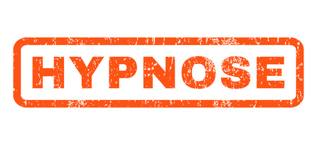 glyph: Hypnose text rubber seal stamp watermark. Tag inside rectangular banner with grunge design and dust texture. Horizontal glyph orange ink sign on a white background.