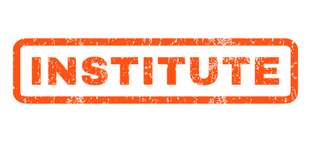 institute: Institute text rubber seal stamp watermark. Caption inside rectangular banner with grunge design and scratched texture. Horizontal glyph orange ink sticker on a white background. Stock Photo