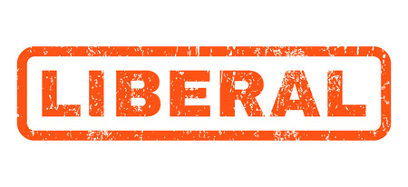 liberal: Liberal text rubber seal stamp watermark. Caption inside rectangular banner with grunge design and scratched texture. Horizontal glyph orange ink sticker on a white background. Stock Photo
