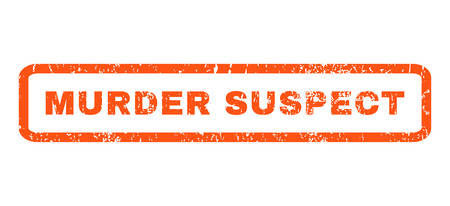 murder: Murder Suspect text rubber seal stamp watermark. Caption inside rectangular shape with grunge design and unclean texture. Horizontal glyph orange ink sign on a white background.