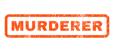 murderer: Murderer text rubber seal stamp watermark. Tag inside rectangular banner with grunge design and dirty texture. Horizontal glyph orange ink sticker on a white background. Stock Photo