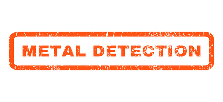 detection: Metal Detection text rubber seal stamp watermark. Caption inside rectangular shape with grunge design and scratched texture. Horizontal glyph orange ink sticker on a white background. Stock Photo