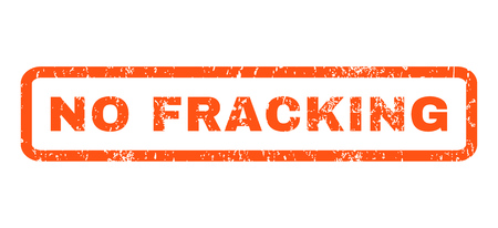 fracking: No Fracking text rubber seal stamp watermark. Caption inside rectangular banner with grunge design and unclean texture. Horizontal glyph orange ink sticker on a white background.