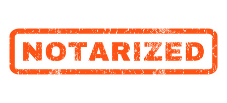 notarized: Notarized text rubber seal stamp watermark. Caption inside rectangular banner with grunge design and dirty texture. Horizontal glyph orange ink sticker on a white background. Stock Photo