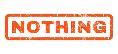 Niets tekst rubberen afdichting stempel watermerk. Tag in rechthoekige vorm met grunge ontwerp en krabde textuur. Horizontale glyph oranje inkt sticker op een witte achtergrond.