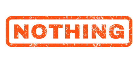 Nothing text rubber seal stamp watermark. Tag inside rectangular shape with grunge design and scratched texture. Horizontal glyph orange ink sticker on a white background.