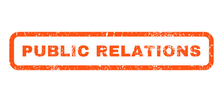 relaciones publicas: Relaciones Públicas de caucho texto del sello sello de marca de agua. En etiqueta bandera rectangular con diseño de grunge y textura rayado. Horizontal pegatina de tinta de color naranja glifo sobre un fondo blanco.