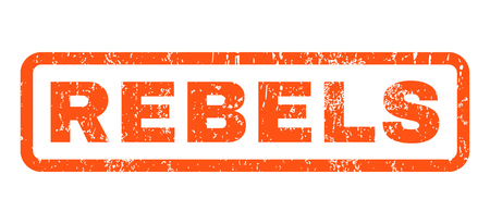 Rebels text rubber seal stamp watermark. Caption inside rectangular banner with grunge design and scratched texture. Horizontal glyph orange ink emblem on a white background.