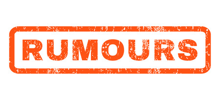 hoax: Rumours text rubber seal stamp watermark. Tag inside rectangular banner with grunge design and scratched texture. Horizontal glyph orange ink sticker on a white background.