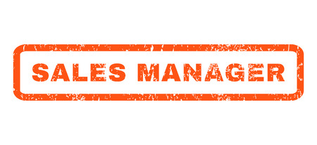 sales manager: Sales Manager text rubber seal stamp watermark. Caption inside rectangular banner with grunge design and dirty texture. Horizontal glyph orange ink sign on a white background.