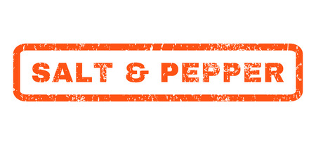 salt pepper: Salt Pepper text rubber seal stamp watermark. Tag inside rectangular shape with grunge design and dirty texture. Horizontal glyph orange ink sticker on a white background. Stock Photo