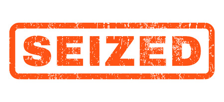 seized: Seized text rubber seal stamp watermark. Caption inside rectangular banner with grunge design and scratched texture. Horizontal glyph orange ink emblem on a white background.
