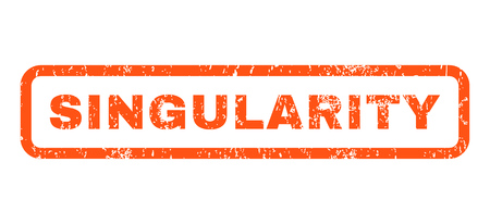 singularity: Singularity text rubber seal stamp watermark. Tag inside rectangular banner with grunge design and dust texture. Horizontal glyph orange ink sticker on a white background. Stock Photo