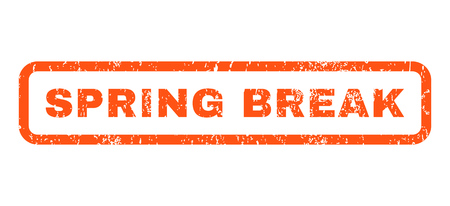 spring break: Spring Break text rubber seal stamp watermark. Caption inside rectangular banner with grunge design and unclean texture. Horizontal glyph orange ink sign on a white background.