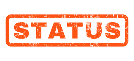 status: Status text rubber seal stamp watermark. Caption inside rectangular banner with grunge design and unclean texture. Horizontal glyph orange ink sticker on a white background.