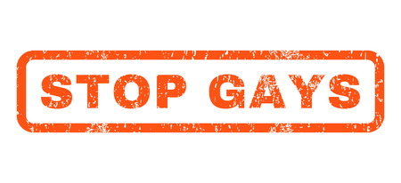 ignore: Stop Gays text rubber seal stamp watermark. Caption inside rectangular shape with grunge design and dirty texture. Horizontal glyph orange ink sign on a white background. Stock Photo