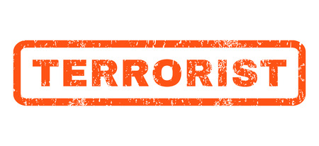 heretic: Terrorist text rubber seal stamp watermark. Tag inside rectangular shape with grunge design and unclean texture. Horizontal glyph orange ink emblem on a white background. Stock Photo
