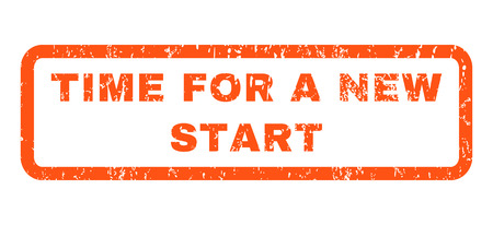 new start: Time For a New Start text rubber seal stamp watermark. Caption inside rectangular banner with grunge design and dirty texture. Horizontal glyph orange ink sticker on a white background.