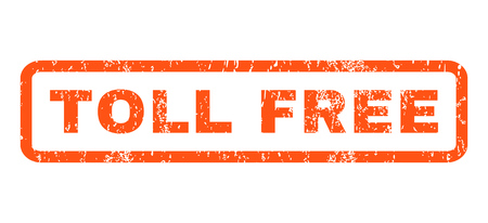 toll free: Toll Free text rubber seal stamp watermark. Tag inside rectangular shape with grunge design and dirty texture. Horizontal glyph orange ink sticker on a white background.