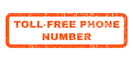toll free: Toll-Free Phone Number text rubber seal stamp watermark. Tag inside rectangular shape with grunge design and scratched texture. Horizontal glyph orange ink sticker on a white background.
