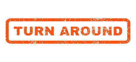 Turn Around text rubber seal stamp watermark. Caption inside rectangular shape with grunge design and unclean texture. Horizontal glyph orange ink emblem on a white background.