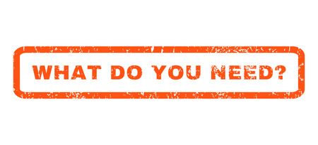 obligation: What Do You Need Question text rubber seal stamp watermark. Caption inside rectangular shape with grunge design and scratched texture. Horizontal glyph orange ink sticker on a white background. Stock Photo