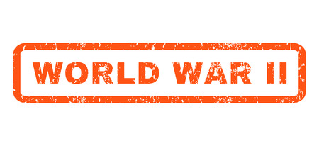 world war ii: World War Ii text rubber seal stamp watermark. Caption inside rectangular shape with grunge design and scratched texture. Horizontal glyph orange ink sign on a white background. Stock Photo