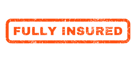 insured: Fully Insured text rubber seal stamp watermark. Tag inside rounded rectangular banner with grunge design and dirty texture. Horizontal glyph orange ink emblem on a white background.