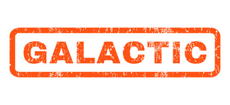 galactic: Galactic text rubber seal stamp watermark. Caption inside rounded rectangular shape with grunge design and unclean texture. Horizontal glyph orange ink emblem on a white background.