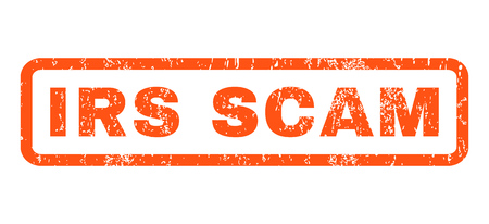 irs: Irs Scam text rubber seal stamp watermark. Caption inside rounded rectangular shape with grunge design and scratched texture. Horizontal glyph orange ink sign on a white background. Stock Photo