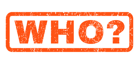 Who Question text rubber seal stamp watermark. Tag inside rectangular shape with grunge design and dirty texture. Horizontal glyph orange ink emblem on a white background.