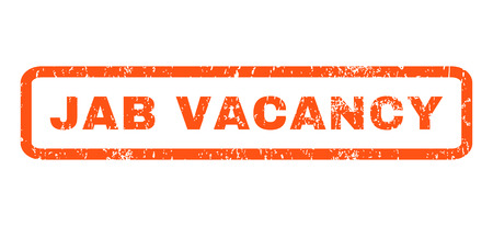 jab: Jab Vacancy text rubber seal stamp watermark. Tag inside rounded rectangular shape with grunge design and scratched texture. Horizontal glyph orange ink emblem on a white background.