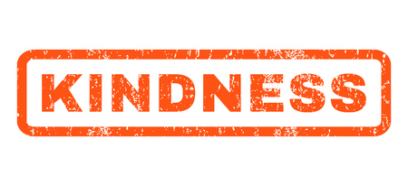 kindness: Kindness text rubber seal stamp watermark. Tag inside rounded rectangular banner with grunge design and unclean texture. Horizontal glyph orange ink sign on a white background.