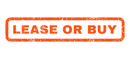 lease: Lease Or Buy text rubber seal stamp watermark. Tag inside rounded rectangular shape with grunge design and dirty texture. Horizontal glyph orange ink emblem on a white background.