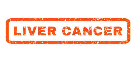 liver cancer: Liver Cancer text rubber seal stamp watermark. Tag inside rounded rectangular shape with grunge design and dirty texture. Horizontal glyph orange ink emblem on a white background. Stock Photo