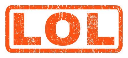 lol: Lol text rubber seal stamp watermark. Tag inside rounded rectangular shape with grunge design and scratched texture. Horizontal glyph orange ink emblem on a white background.