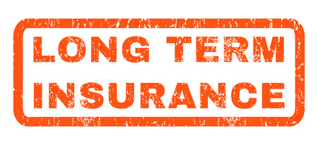 long term: Long Term Insurance text rubber seal stamp watermark. Caption inside rounded rectangular banner with grunge design and dust texture. Horizontal glyph orange ink sign on a white background.