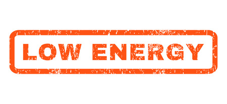 low energy: Low Energy text rubber seal stamp watermark. Tag inside rounded rectangular shape with grunge design and dust texture. Horizontal glyph orange ink emblem on a white background.