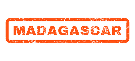 Madagascar text rubber seal stamp watermark. Tag inside rounded rectangular shape with grunge design and scratched texture. Horizontal glyph orange ink sticker on a white background. Stock Photo