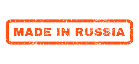 made russia: Made In Russia text rubber seal stamp watermark. Caption inside rounded rectangular banner with grunge design and unclean texture. Horizontal glyph orange ink emblem on a white background.