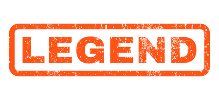 legend: Legend text rubber seal stamp watermark. Tag inside rounded rectangular shape with grunge design and unclean texture. Horizontal glyph orange ink sign on a white background.