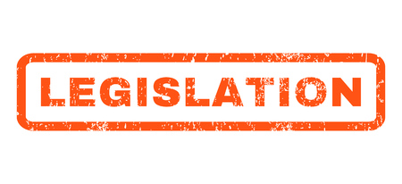 legislation: Legislation text rubber seal stamp watermark. Tag inside rounded rectangular shape with grunge design and dirty texture. Horizontal glyph orange ink sign on a white background. Stock Photo